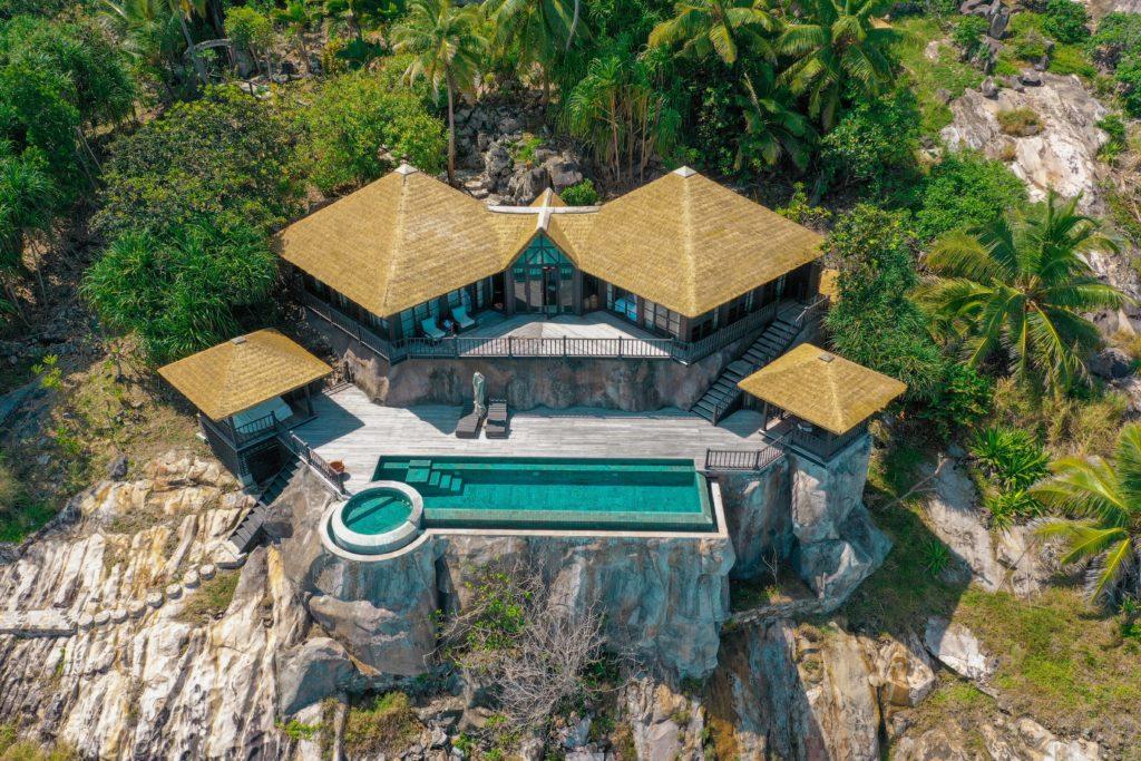 aerial view private villa fregate island