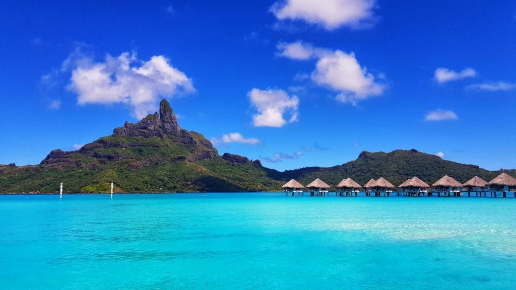 French Polynesia huts over sea