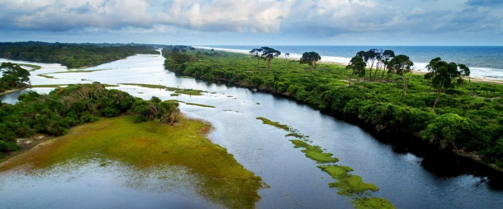 Aerial of Loango National Park Gabon
