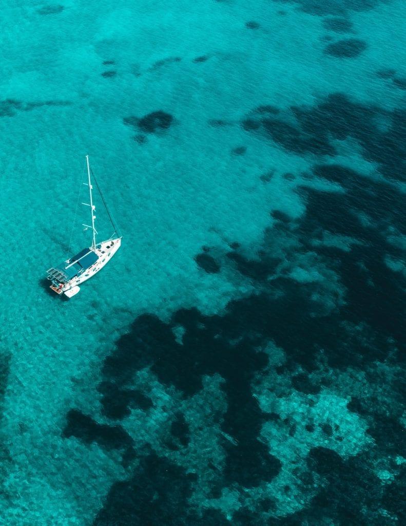 Yacht sailing across the ocean in Greece