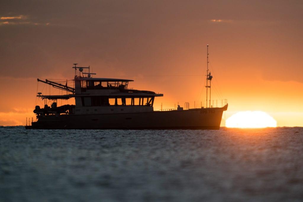 grey wolf yacht sunset