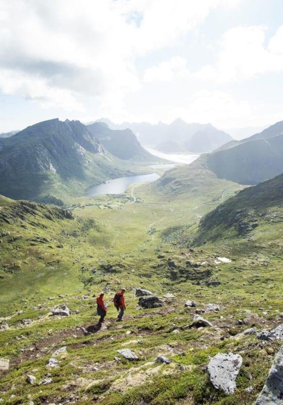 Hikers in Lofoten in Norway