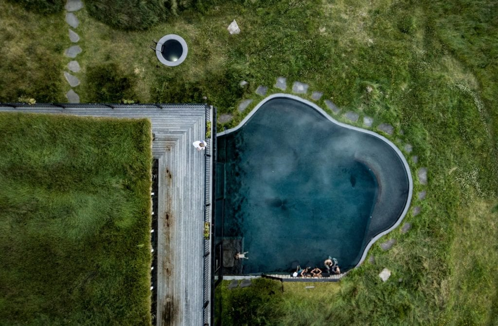 Iceland Deplar Farm Outdoor Thermal Pool Aerial