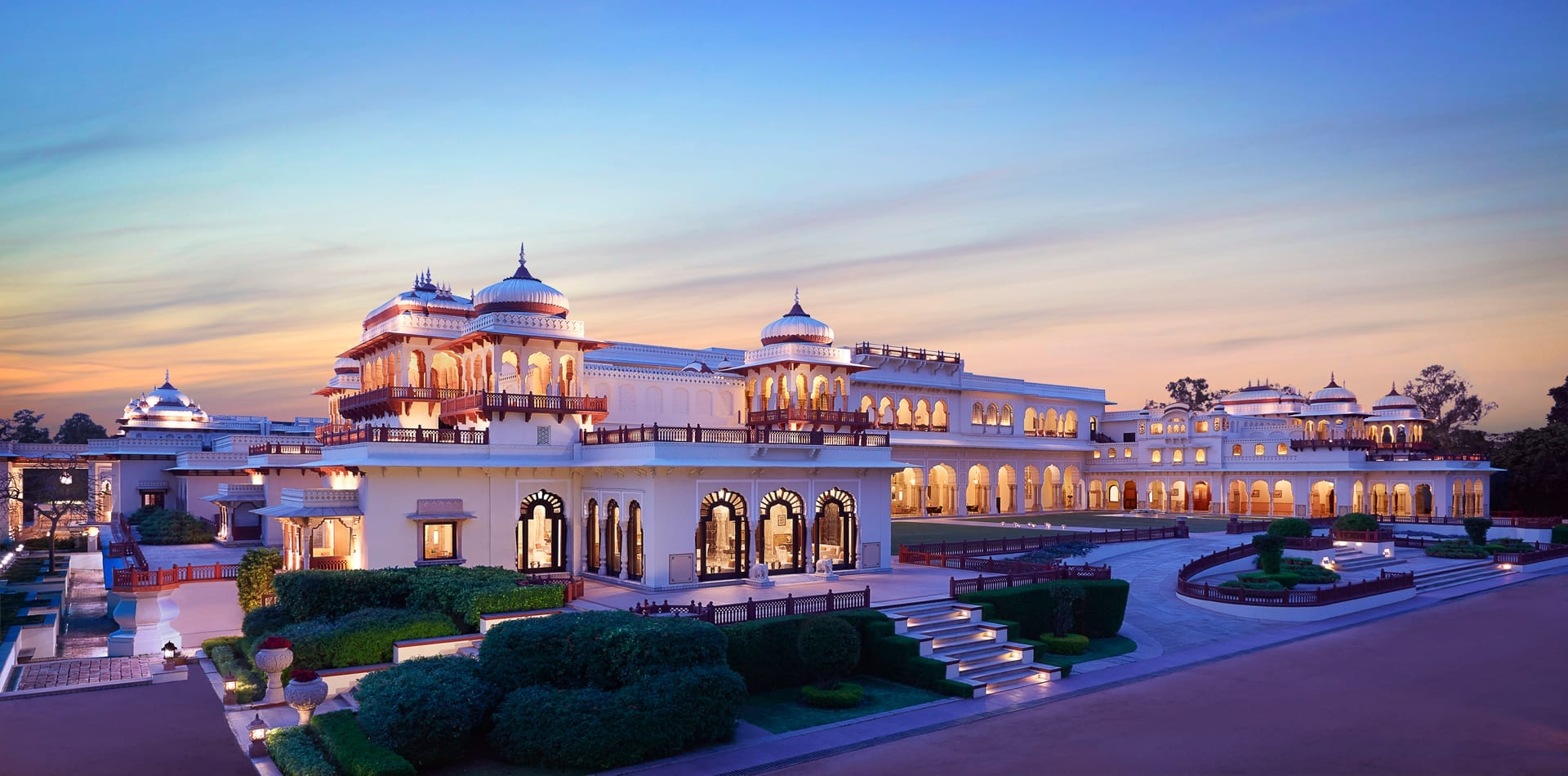 Rambagh Palace Exterior at Dusk in India