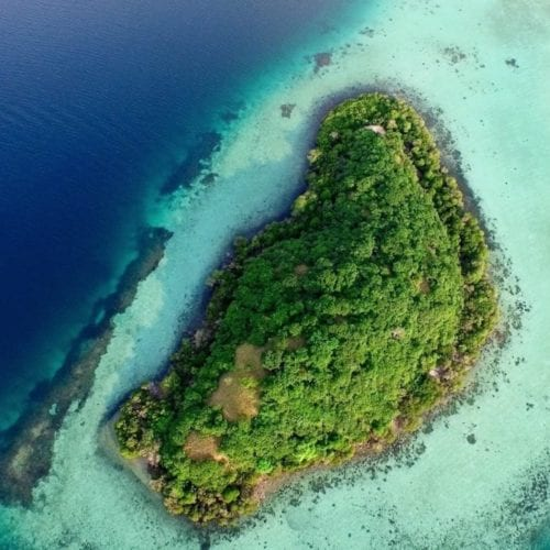Aerial view of a remote island