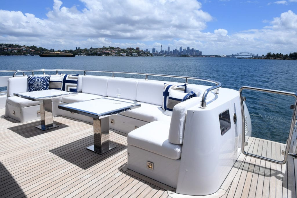 Top deck seating on the Infinity Pacific Yacht