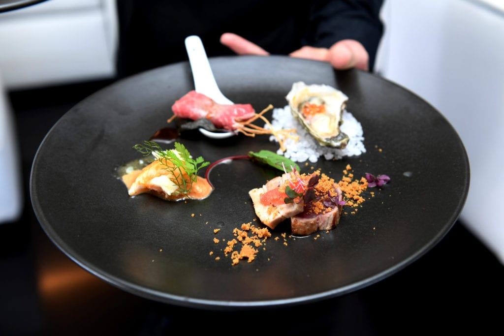 Food served on the Infinity Pacific yacht