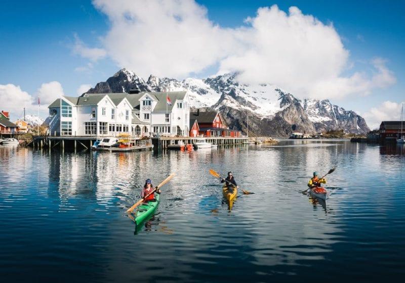 Kayaking in the bay of Henningsvaer
