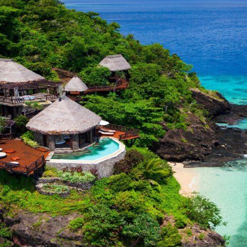 laucala island fiji peninsula villa aerial