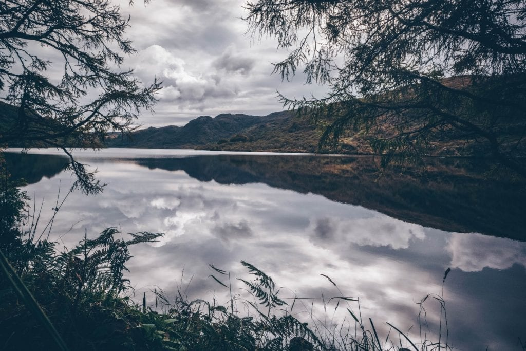 Reflections of the sky on Loch Uisg, Isle of Mull