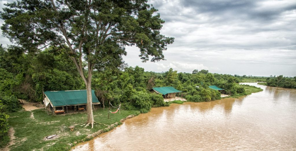 Lulimbi tented camp river and tents