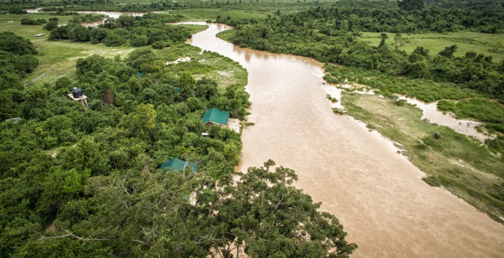 aerial of Lulimbi Tented Camp