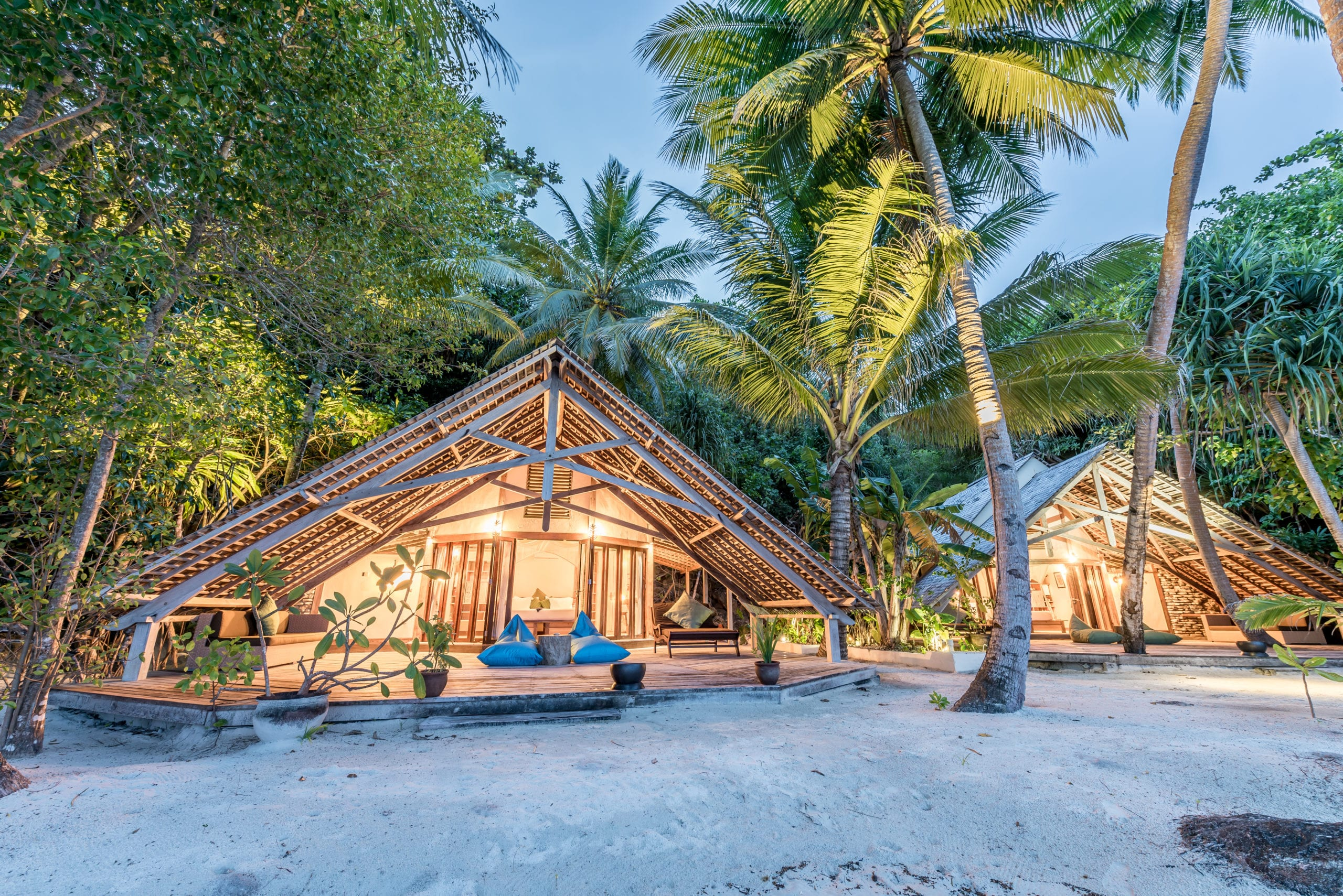 secluded beach huts on the sand