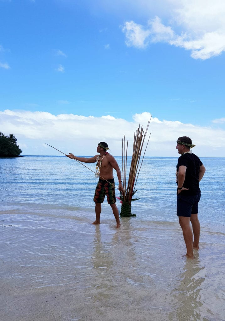 Local games being played on a beach in Tahiti
