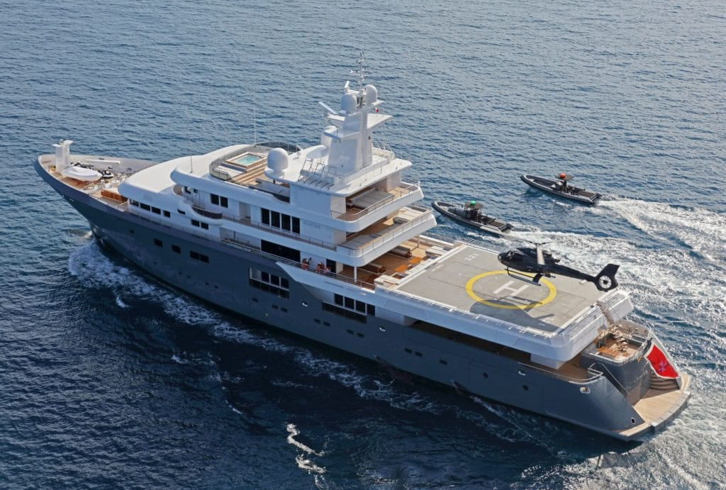 Planet Nine Yacht aerial view