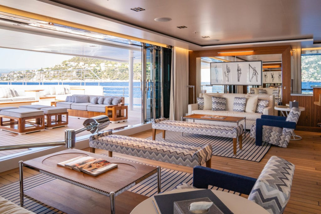 Planet Nine Yacht seating areas from indoors