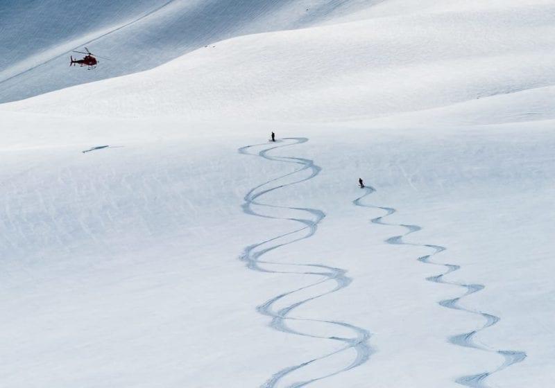fresh tracks in the powder