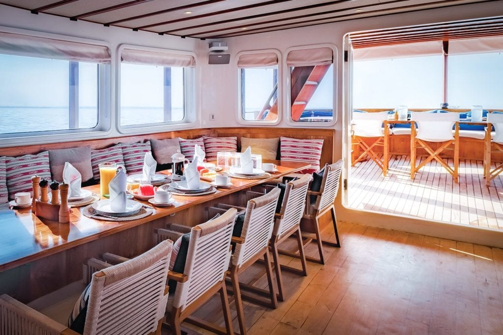 Interior Dining on board Rascal Yacht