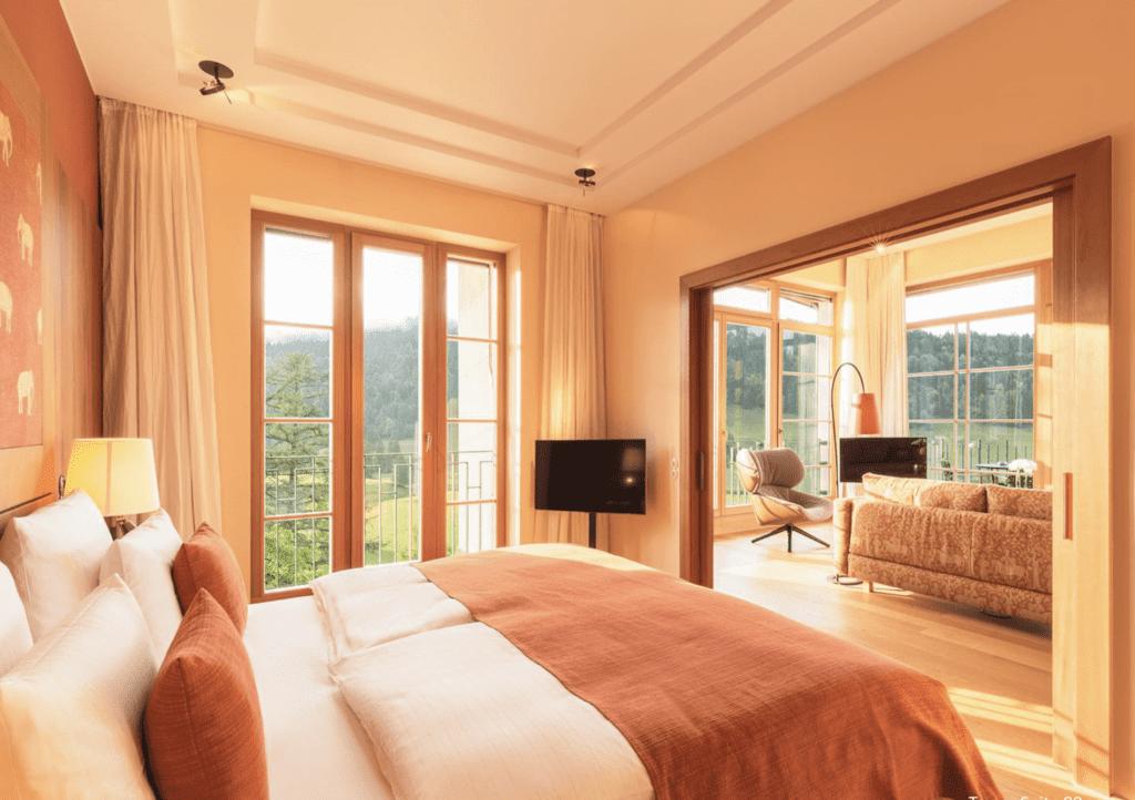 Schloss Elmau interior of bedroom