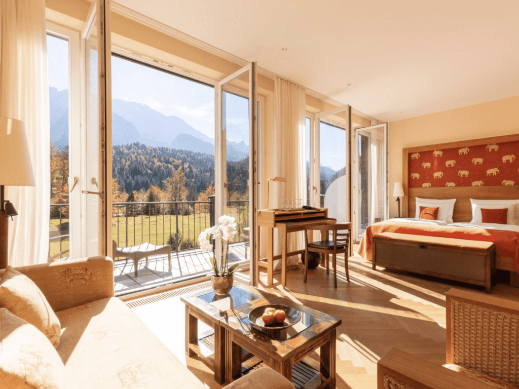 view from room at Schloss Elmau