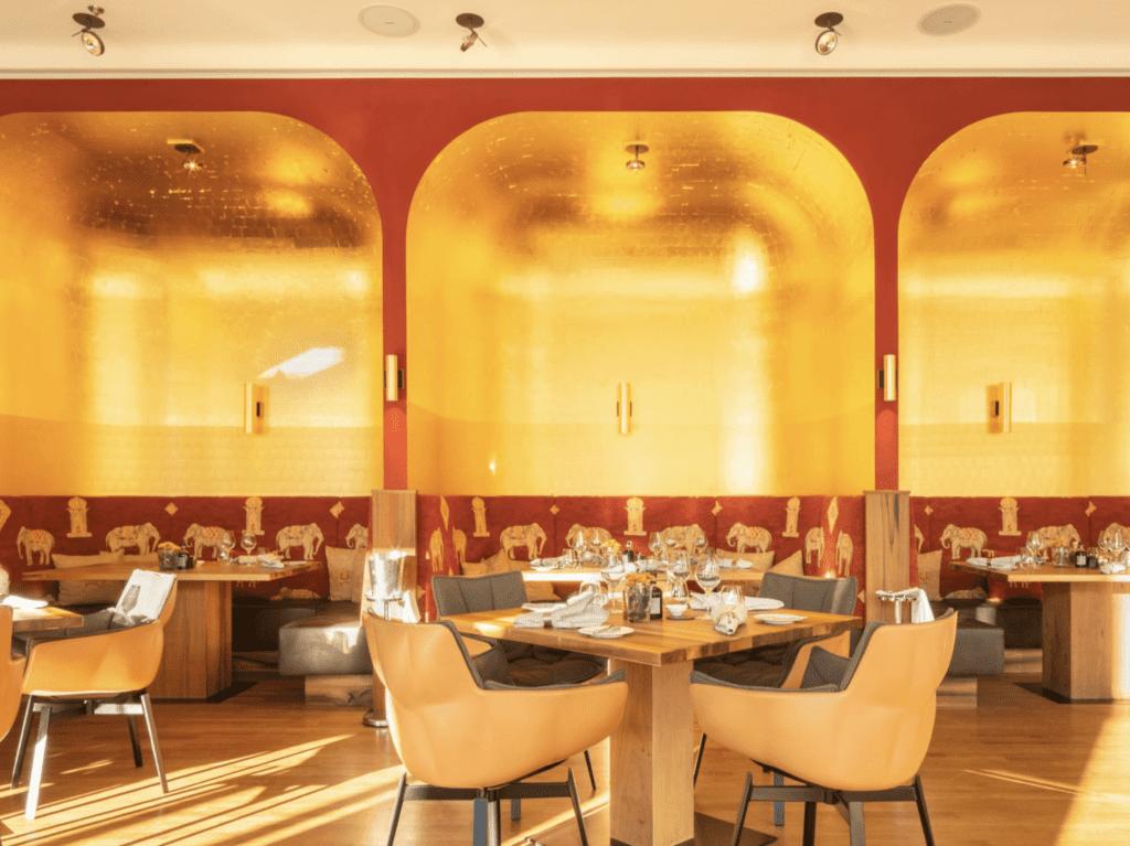 dining room interior at Schloss Elmau