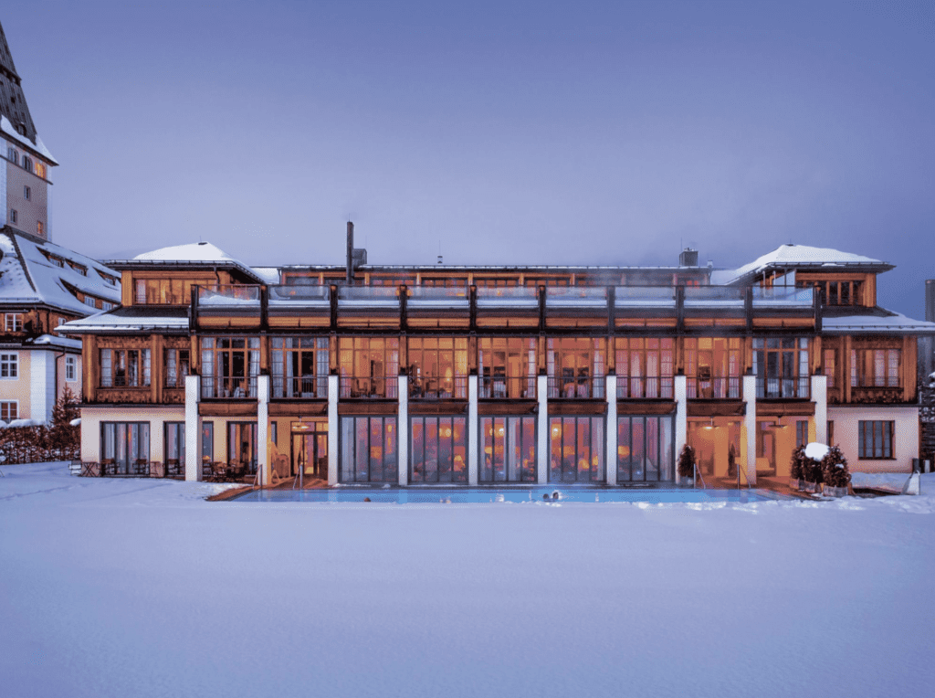 Schloss Elmau exterior in the snow
