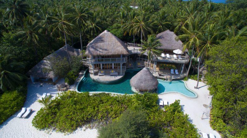 maldives soneva fushi aerial view