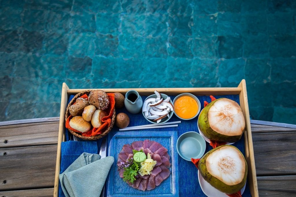 soneva fushi pool food tray