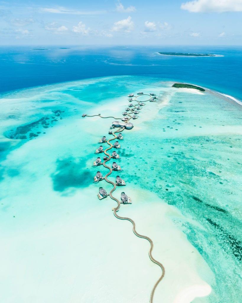 aerial beach view soneva jani maldives