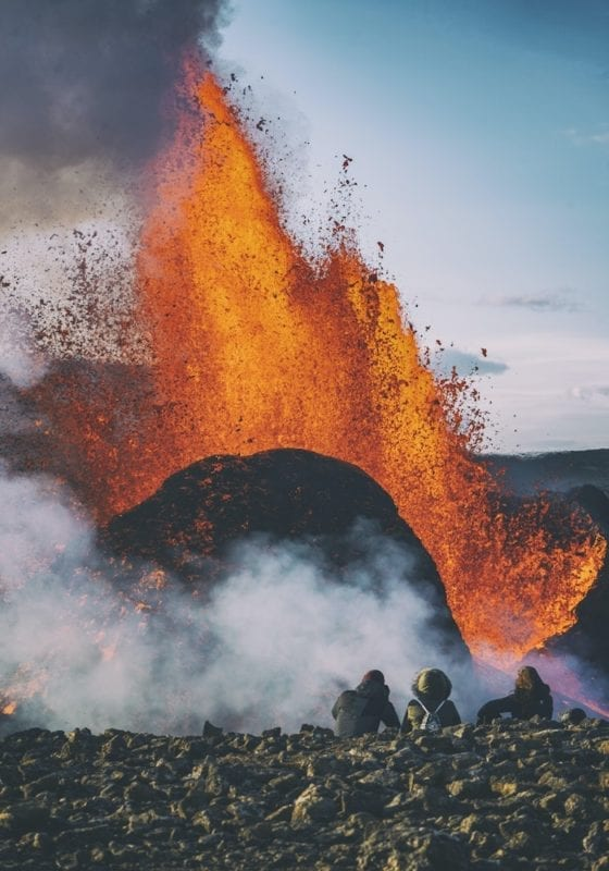 Spectators on Day 51 of Volcanic Eruption, Iceland