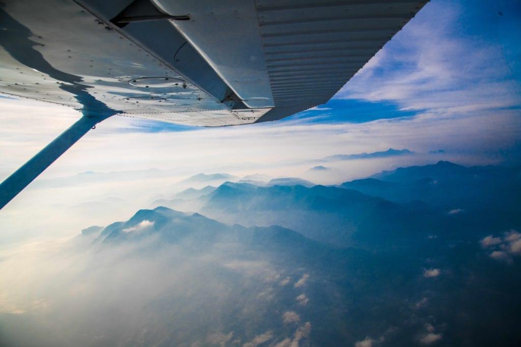 Scenic flight above mountains in Sri Lanka