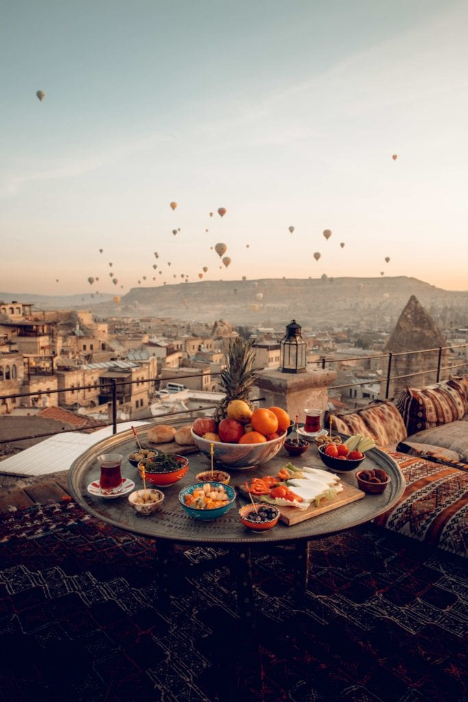 sultan cave suites hot air balloons dining table