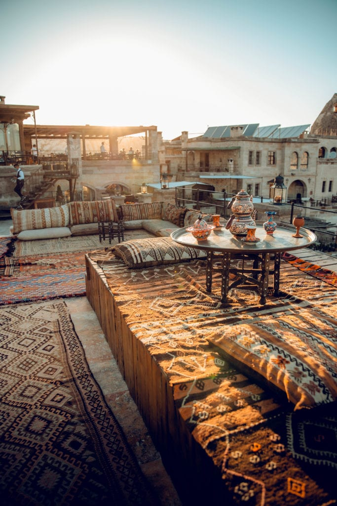 rooftop seating area sultan cave suites turkey