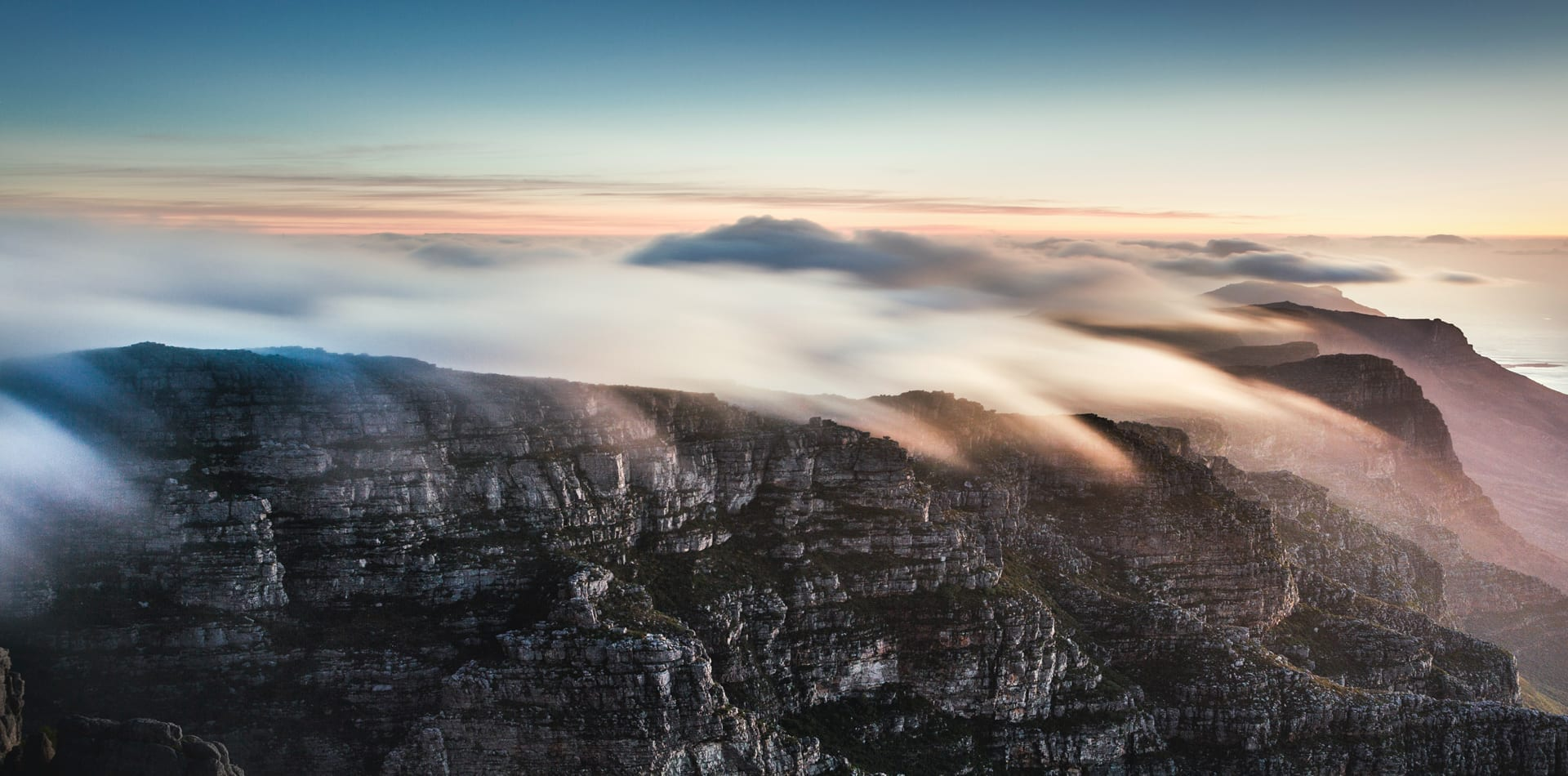 Sunrise over Table Mountain in South Africa