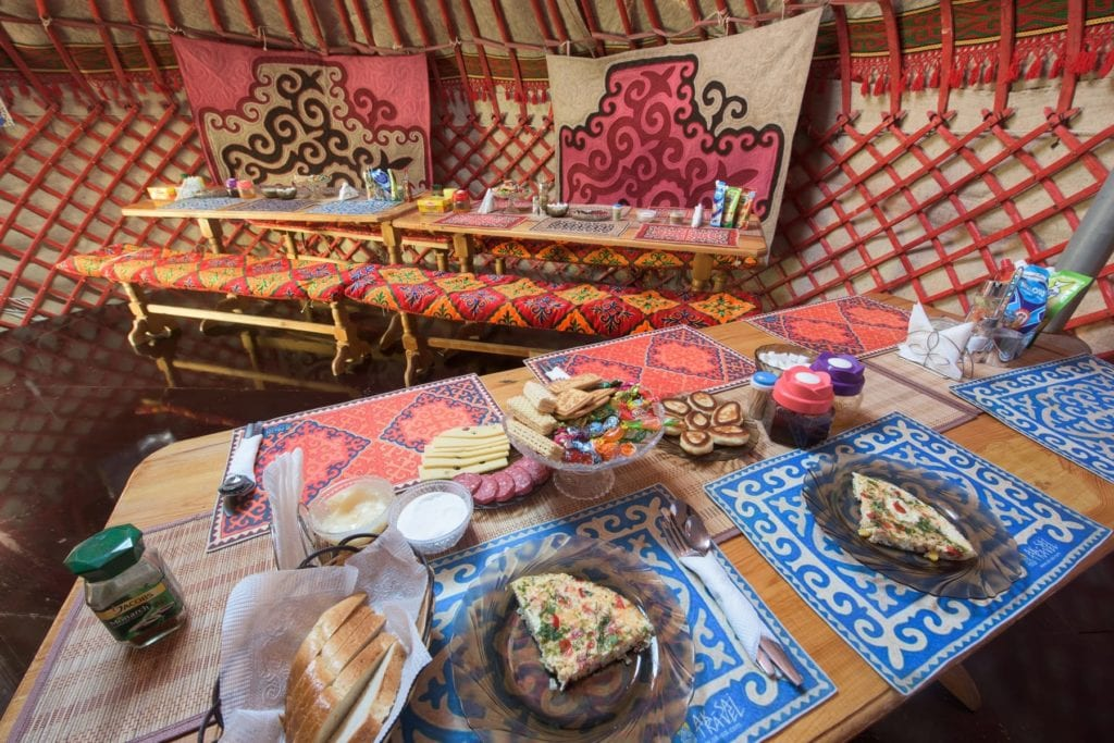 dining table food tash rabat yurt camp