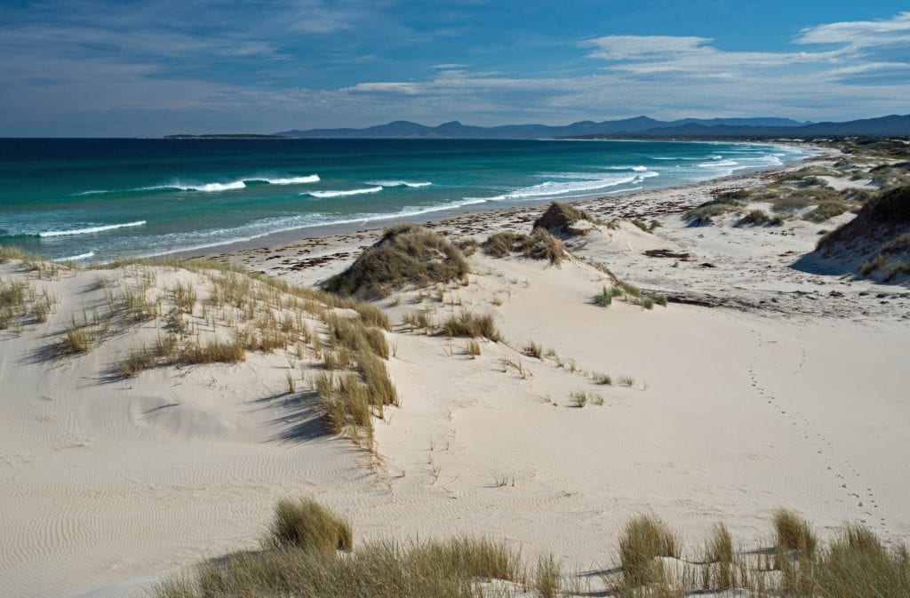 White sand beaches of Tasmania