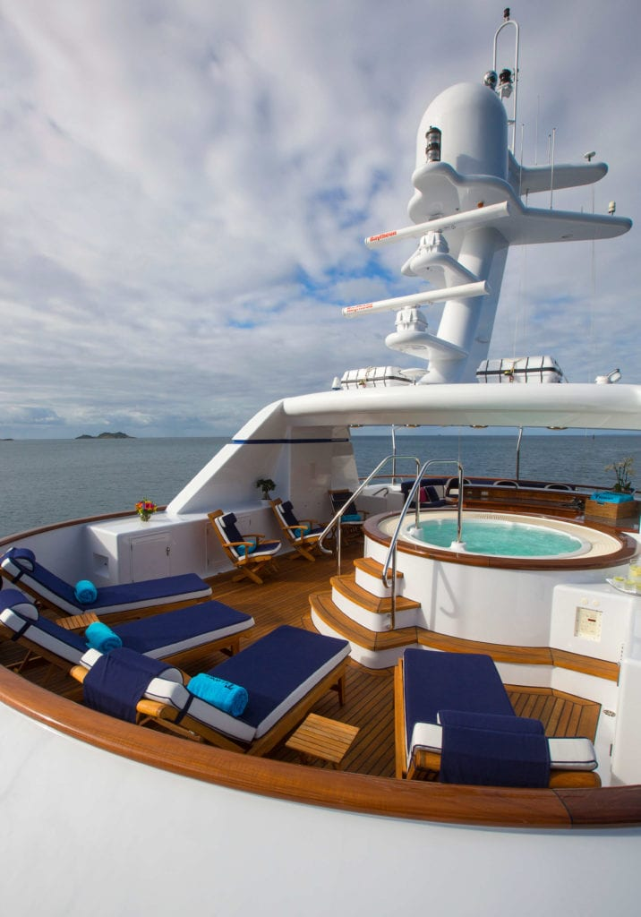 Extrerior Sun Deck on board Teleost Yacht