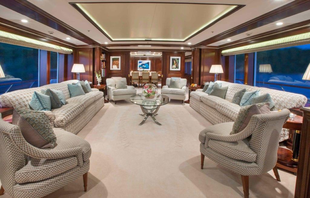 Interior saloon on board Teleost yacht