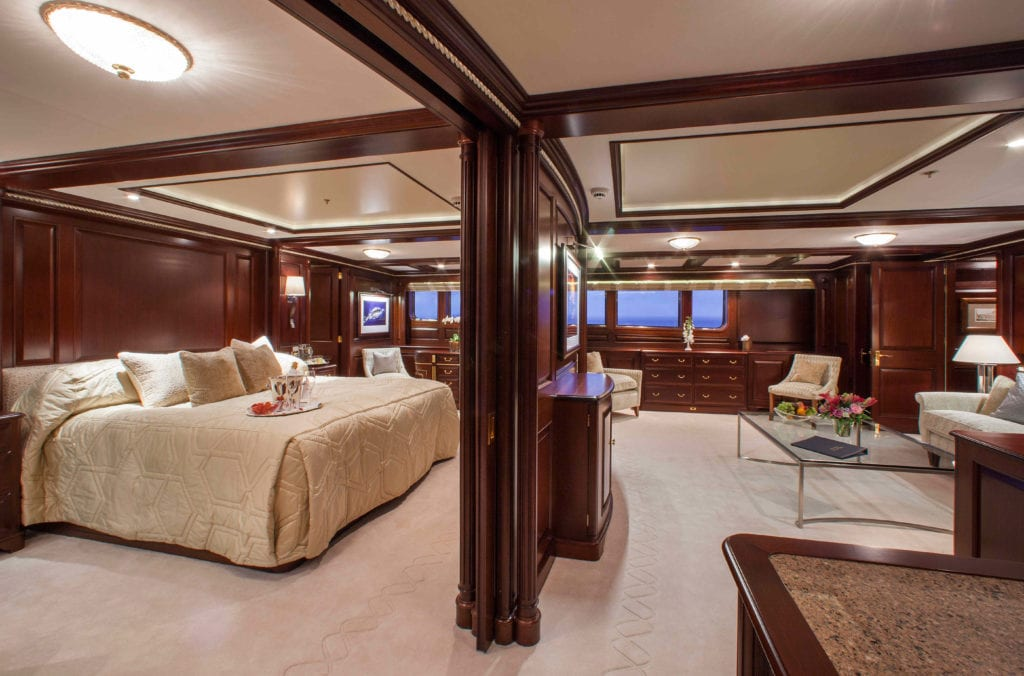Master cabin on board Teleost yacht