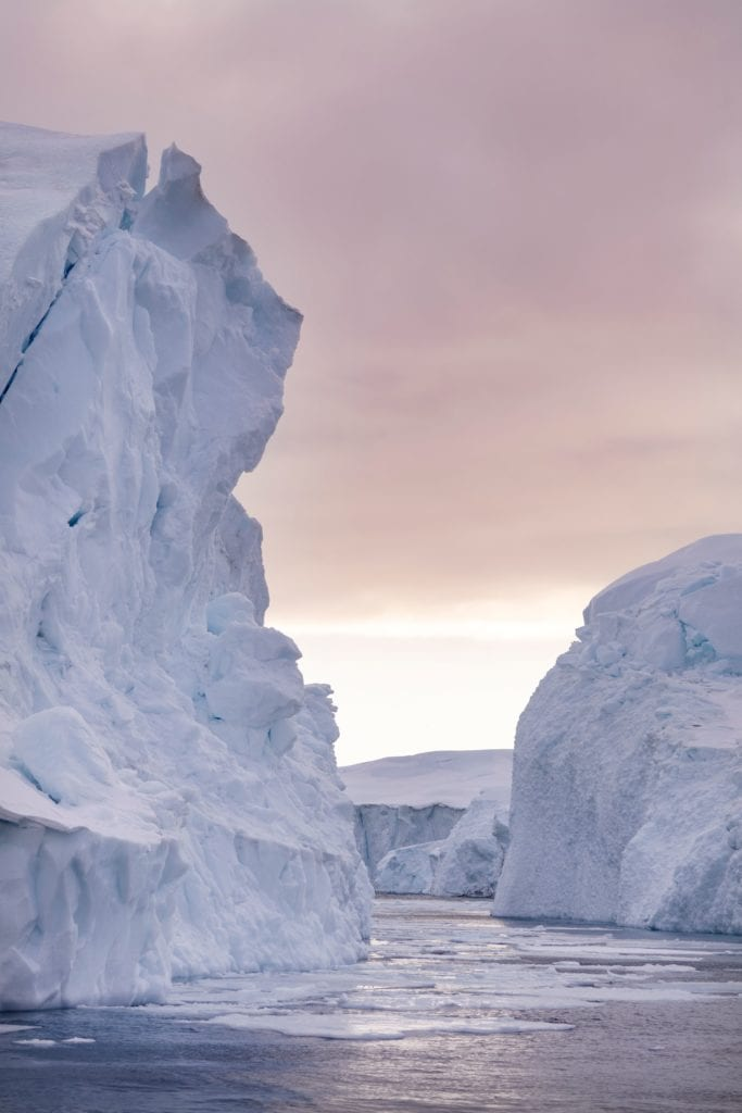 The Ilulissat Icefjord at Sunset in Greenland
