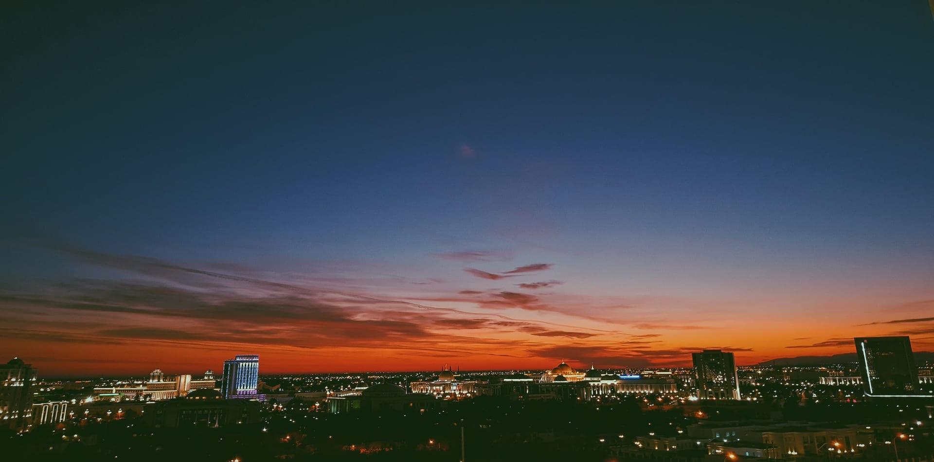 Turkmenistan City Sunset Destination Hero