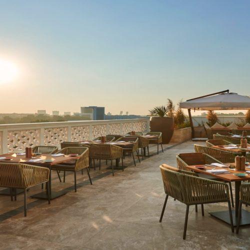 uzbekistan hyatt regency outdoor dining area exterior