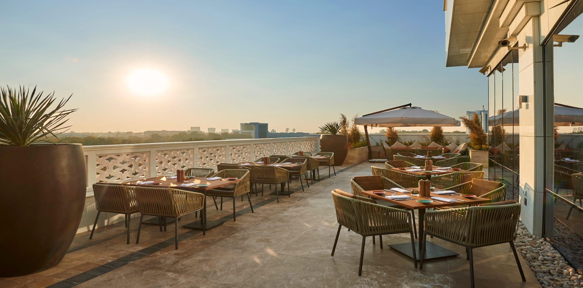 uzbekistan hyatt regency outdoor dining area exterior