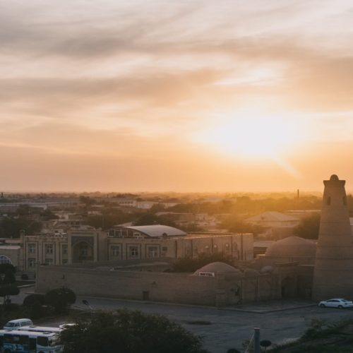 Uzbekistan sunset over Khiva city mosque