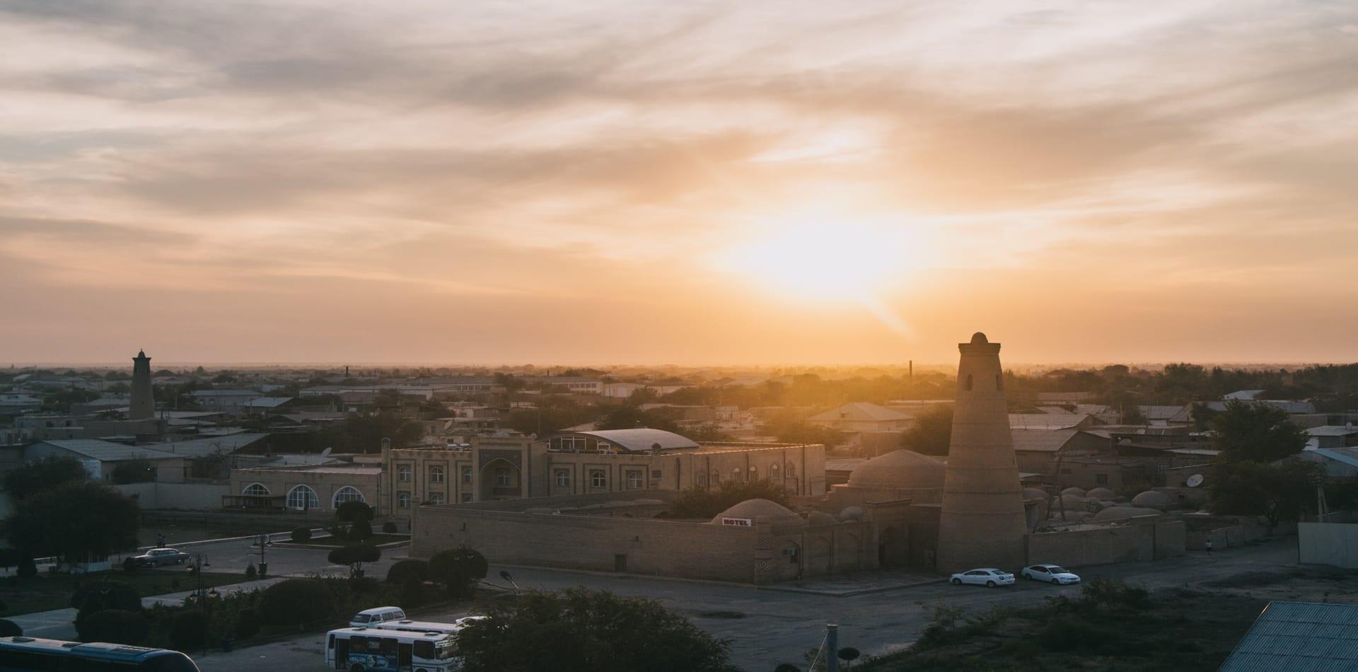 Uzbekistan sunset over Khiva city mosque