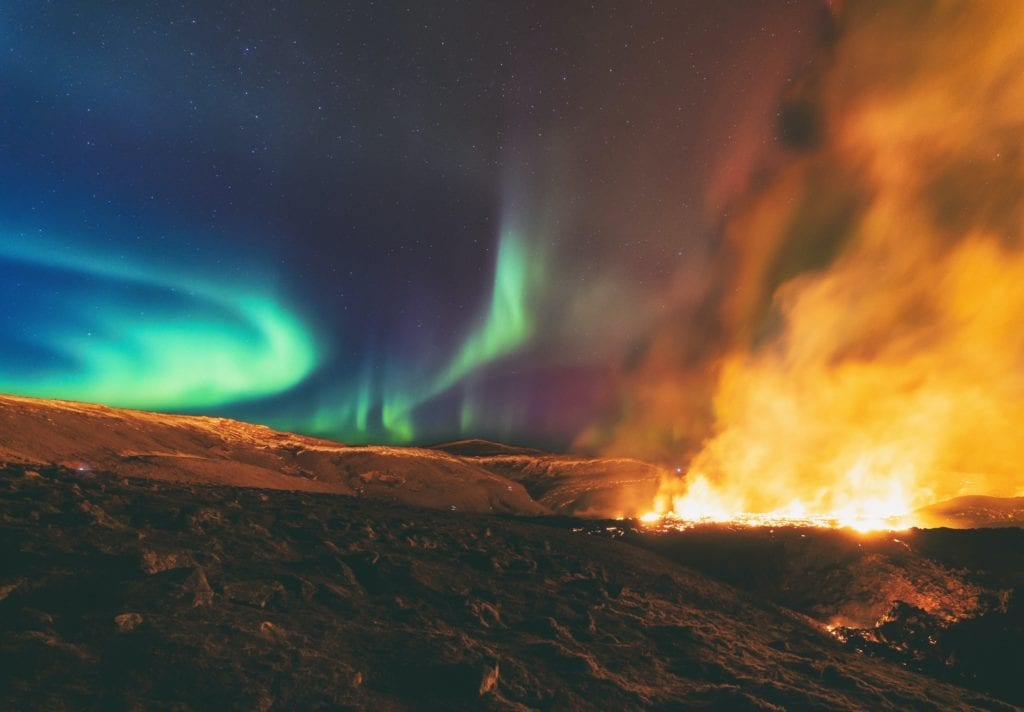 Incredible Image Captures Volcanic Eruption And The Northern Lights, Iceland