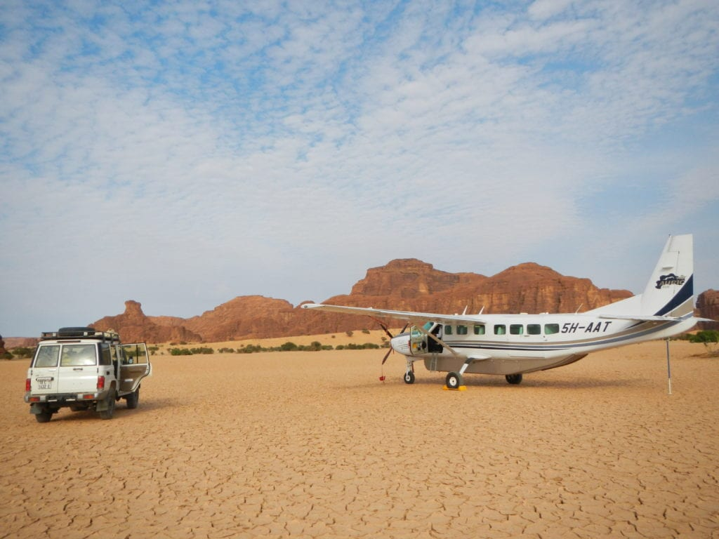 Private plane landing in the desert of Chad