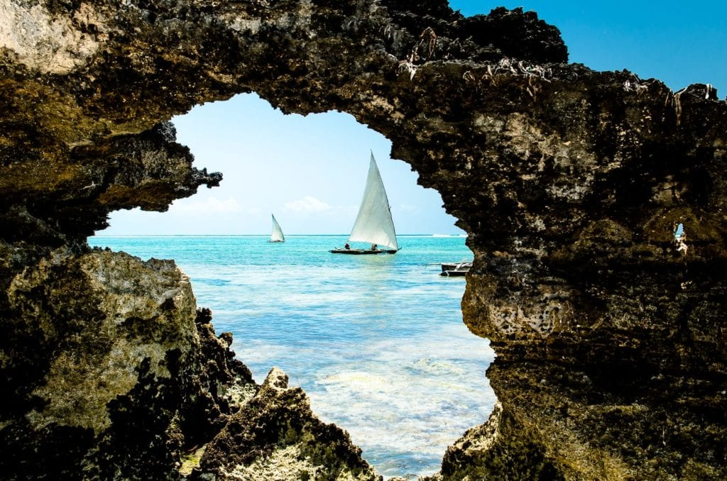 Dhow boat out to sea in Zanzibar