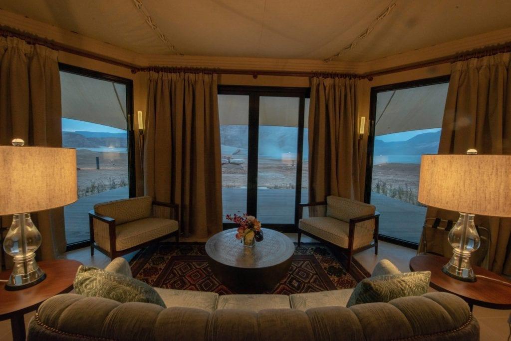 Ashar Resort Interior Tented Villa Seating Lounge Area Al Ula Saudi Arabia