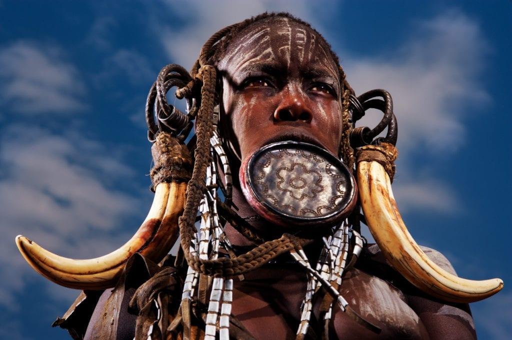Lip Plate and Tribal Paint Mago River Omo Valley Ethiopia